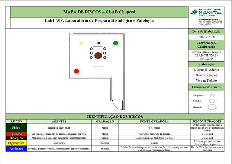 Mapa de Riscos - Sala 108 - Lab. 01