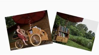 São duas fotos: na primeira, Camila está em sua bibliobike, e, na segunda, aparecem alguns dos livros da Bibliobike em frente a plantas.