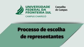"""imagem com fundo verde claro. Acima, centralizada, a marca da UFFS - Campus Chapecó e Conselho de Campus. Abaixo, em cima de uma imagem verde mais escuro, o texto """"Processo de escolha  de representantes"""""""