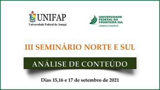 Imagem do cartaz com as informações do evento, com as marcas da Unifap e UFFS - Campus Chapecó, nome do evento e a data