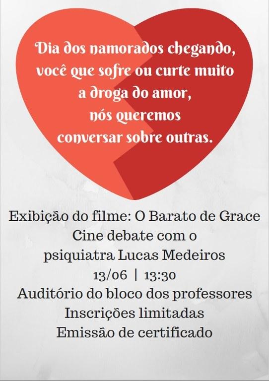 Cartaz com o convite ao evento. Na abertura, um coração vermelho.