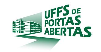 """Imagem com o desenho de um dos prédios da UFFS, com o texto """"UFFS de portas abertas"""""""