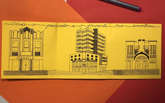Foto de um fanzine com desenhos relativos a espaços da cidade