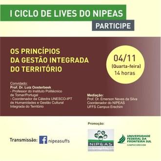 Arte com informações sobre live promovida pelo Nipeas para discutir desenvolvimento territorial