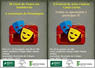 Na imagem o cartaz do evento contendo na parte superior o nome do evento, ao centro máscaras e um palco de teratro, na parte inferior detalhes sobre data, horário e local do evento.