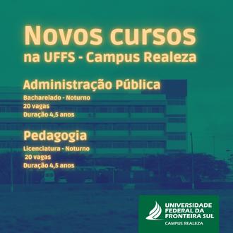 Novos cursos para Realeza: Administração Pública e Pedagogia