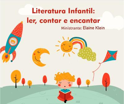 Cartaz com informações sobre oficina de literatura infantil