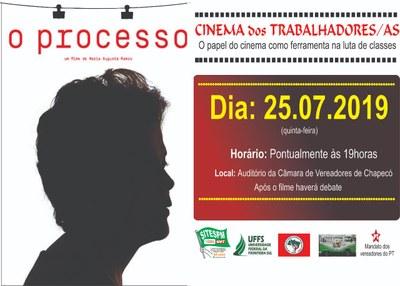 Cartaz com informações sobre evento cine debate dia do trabalhador