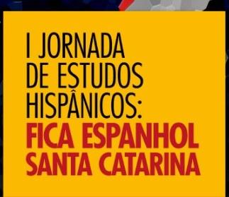 """Ilustração em fundo amarelo, com a escrita em vermelho """"I jornada de estudos  hispânicos"""""""