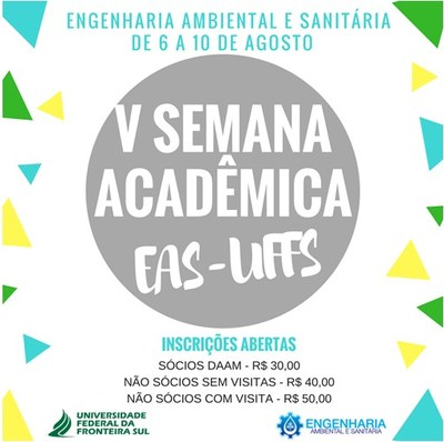 """Ilustração com fundo branco e um círculo cinza no centro com a escrita """"V Semana Acadêmica EAS - UFFS"""""""