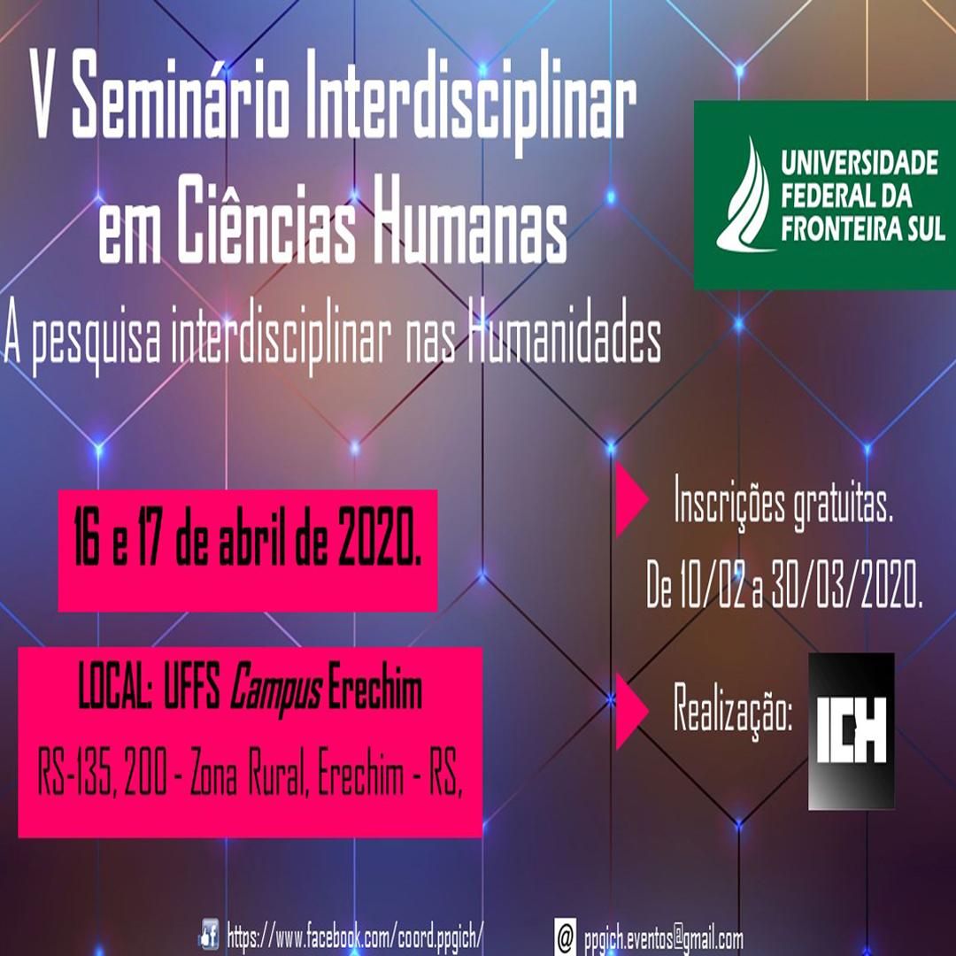 V Seminário Interdisciplinar em Ciências Humanas: A pesquisa interdisciplinar nas Humanidades