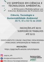 VII SIMPÓSIO EM CIÊNCIA E TECNOLOGIA AMBIENTAL E III ENCONTRO MULTIDISCIPLINAR EM CIÊNCIAS AMBIENTAIS DA FRONTEIRA SUL