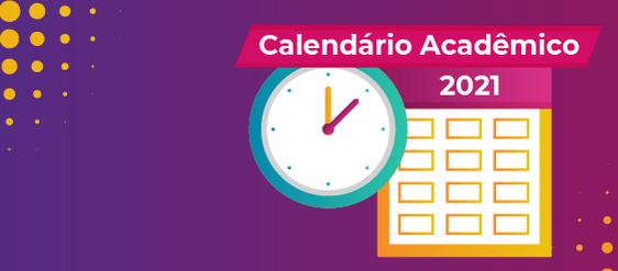 Card com informações calendário acadêmico 2021