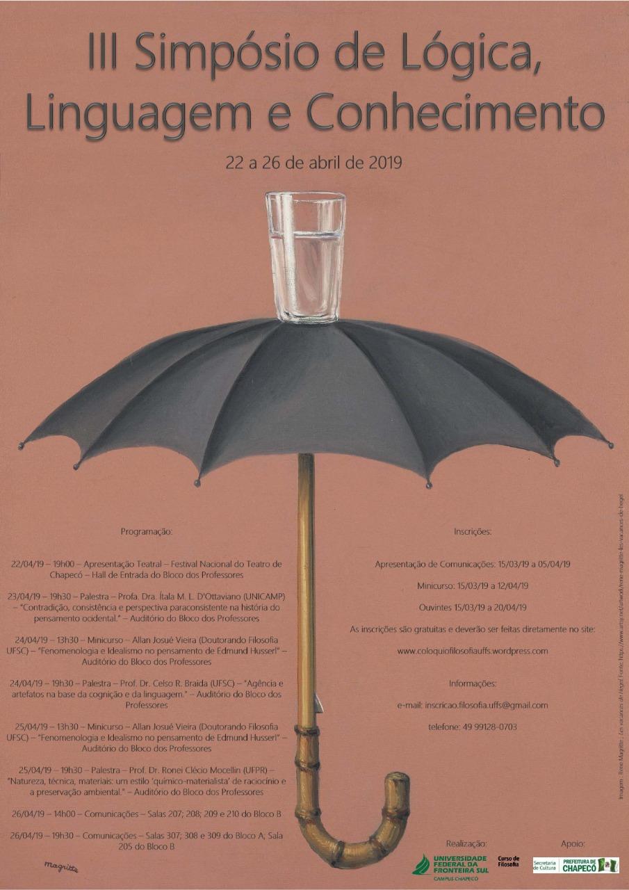 Cartaz com infemações sobre evento III Simpósio de Lógica, Linguagem e Conhecimento