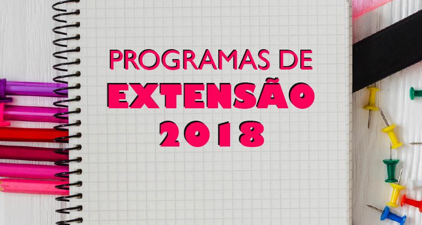 Ilustração de um caderno com o título Programas de Extensão 2018