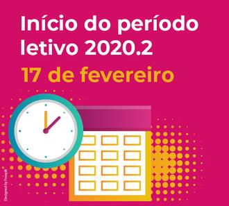 Card com informações sobre inicio semestre letivo 2020.2