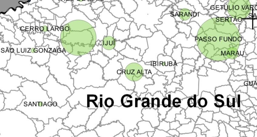 parte de um mapa do rio grande do sul, com destaque para Cerro Largo