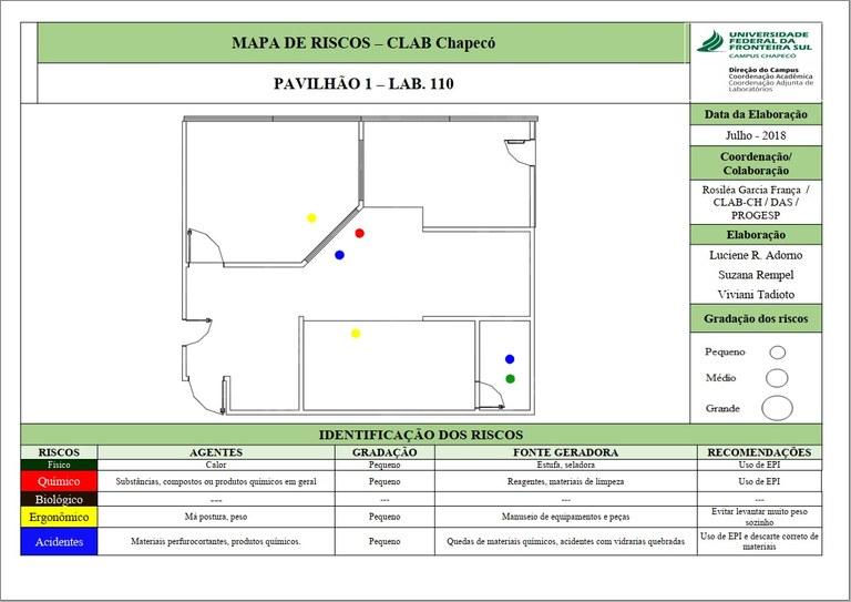Mapa de Riscos - Sala 110 - Lab. 01