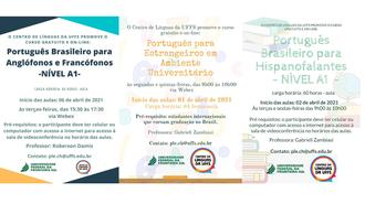 Lado a lado, os cartazes a respeito da abertura das inscrições dos cursos de Português para Estrangeiros