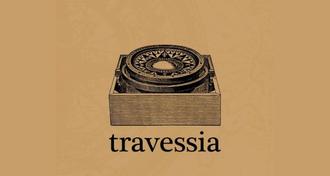"""Imagem com fundo de cor bege envelhecido com a marca do Clube de Leitura e, abaixo, o texto """"Travessia"""""""