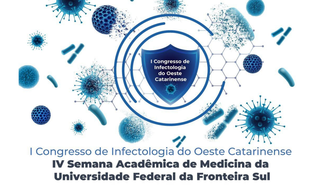 """Imagem com fundo branco e elementos gráficos em azul, com o texto: """"I Congresso de Infectologia do Oeste Catarinense; IV Semana Acadêmica de Medicina da Universidade Federal da Fronteira Sul""""."""