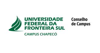 """Imagem com fundo branco, a marca da UFFS - Campus Chapecó e o texto """"Conselho de Campus"""""""