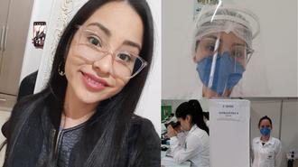 Montagem de fotos de Eliziane, com ela descontraída, à esquerda, e, à direita, de mascara e face shield, olhando no microscópio e na vacinação contra a Covid-19