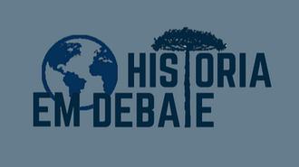 """Imagem com a marca do evento História em Debate, o qual tem uma araucária no lugar do T e um globo terrestre antes da palavra """"História"""""""