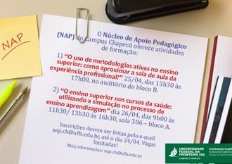 Imagem de um papel com informações dos eventos, e a marca da UFFS - Campus Chapecó, Coordenação Acadêmica e NAP.