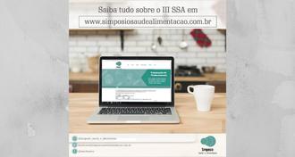 Imagem de um notebook com o site do IIISSA na tela e informações das redes sociais e o endereço do site
