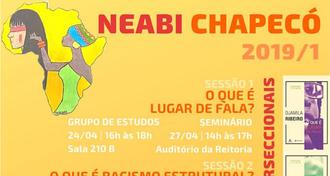 Imagem com a logo do Neabi, fundo amarelo e informações sobre o evento