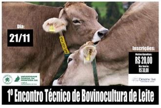 Na imagem o nome, data do evento e valor das inscrições (R$ 20 antecipado e R$30 na hora), a logomarca da UFFS da Desenvolve e do Sindicato Rural.