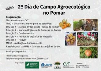 No topo do cartaz o nome do evento. Ao centro informações sobre a programação. Na lateral direita imagens de frutos e plantas. Na parte inferior logos dos apoiadores do evento.