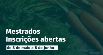Ao fundo da imagem um ramalhete de cenouras, em primeiro plano os dizeres: Mestrados, Inscrições abertas - de 8 de maio a 8 de junho