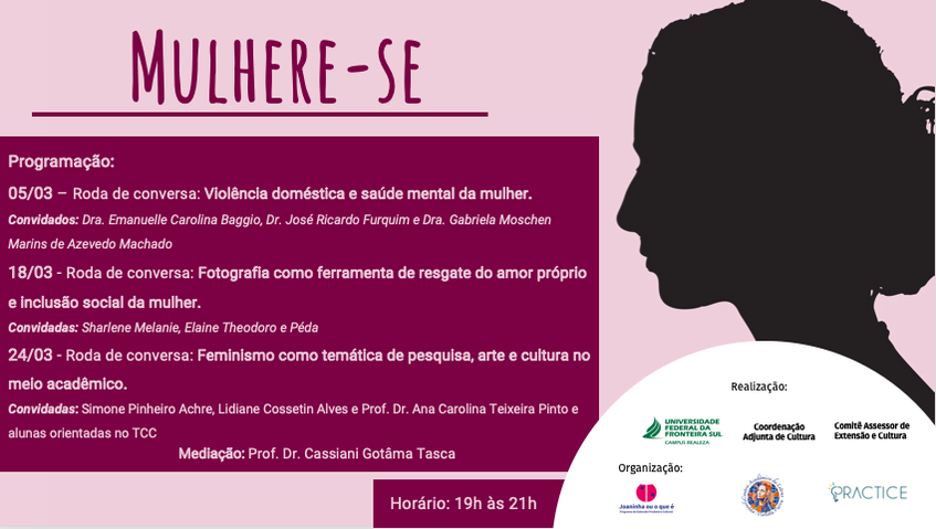 Cartaz de divulgação da 1ª Roda de Conversa do evento Mulhere-se