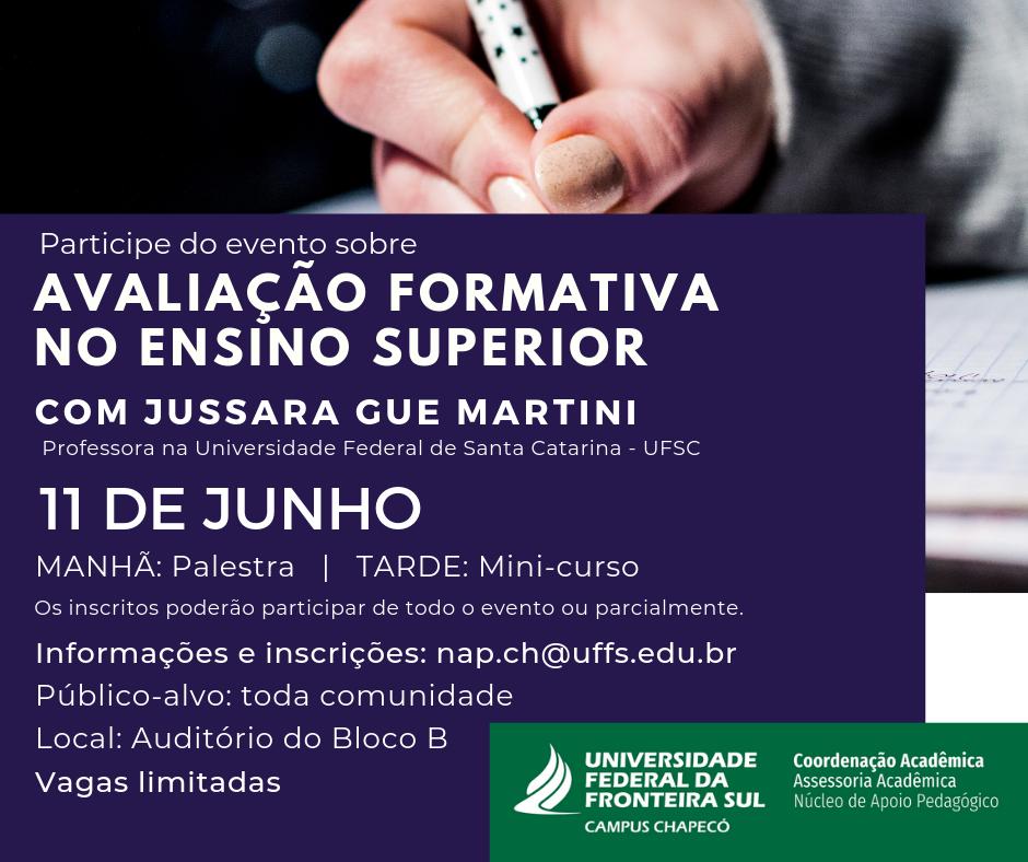 Cartaz com informações sobre o evento Avaliação formativa no Ensino superior