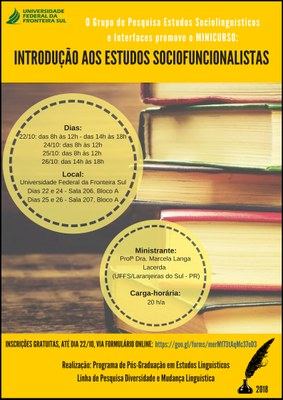 Cartaz com informações referentes ao evento Introdução aos Estudos Sociofuncionalistas