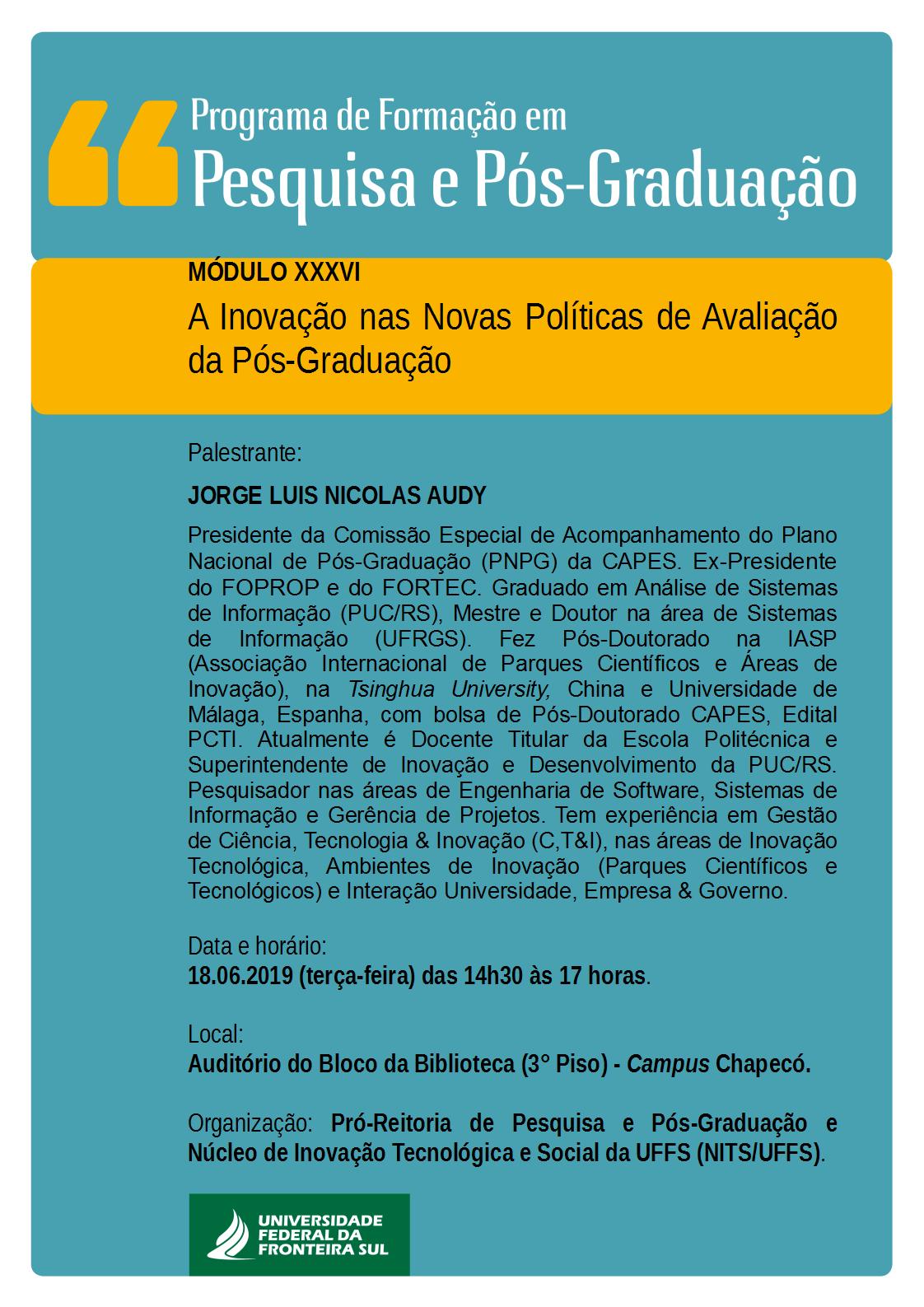 Cartaz com informações sobre palestra A Inovação nas Novas Políticas de Avaliação da Pós-Graduação