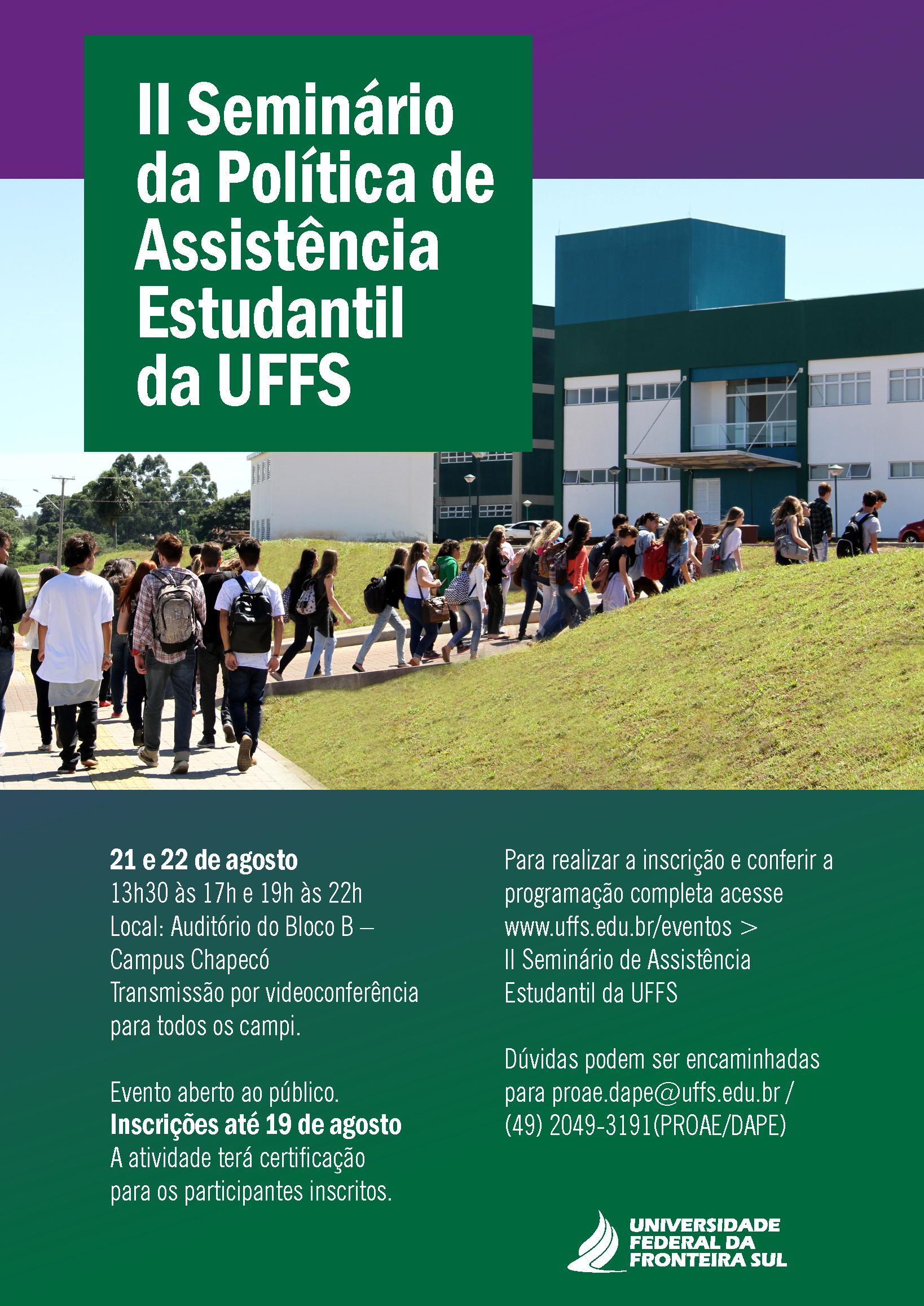 Cartaz com informações sobre evento  de assistência estudantil
