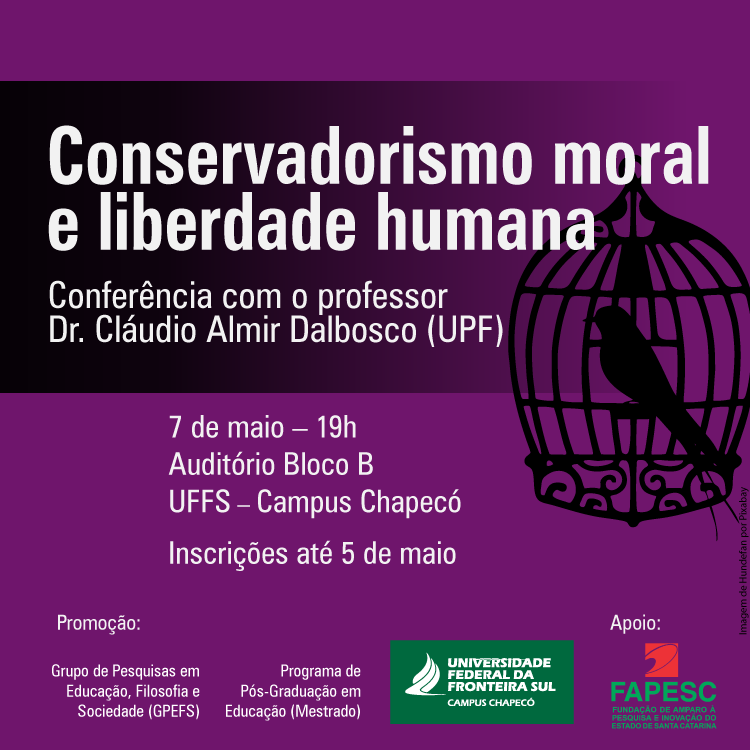 Cartaz com informações sobre a conferência liberalismo moral e liberdade humana