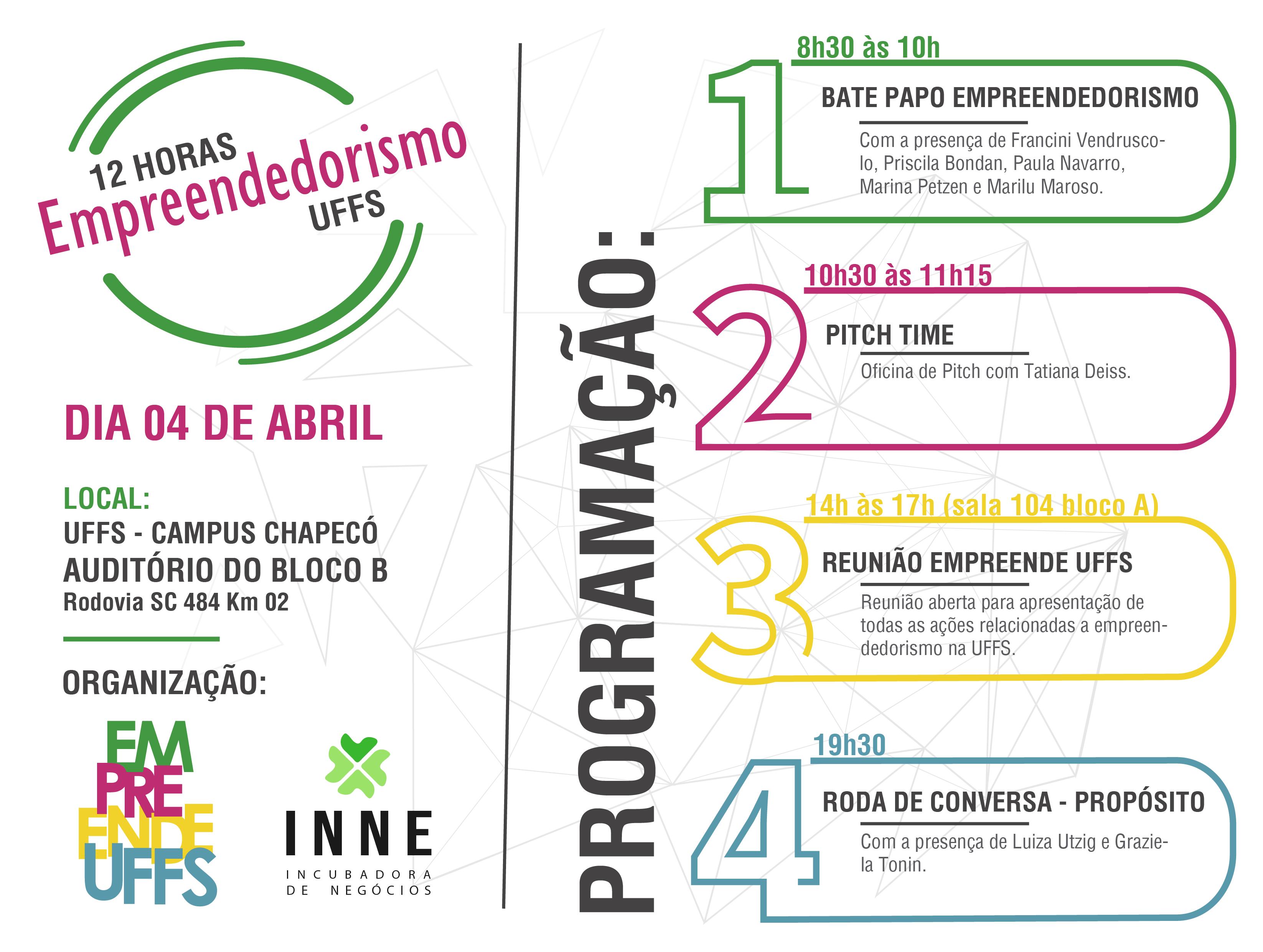 Cartaz com informações sobre evento 12 horas de empreendedorismo