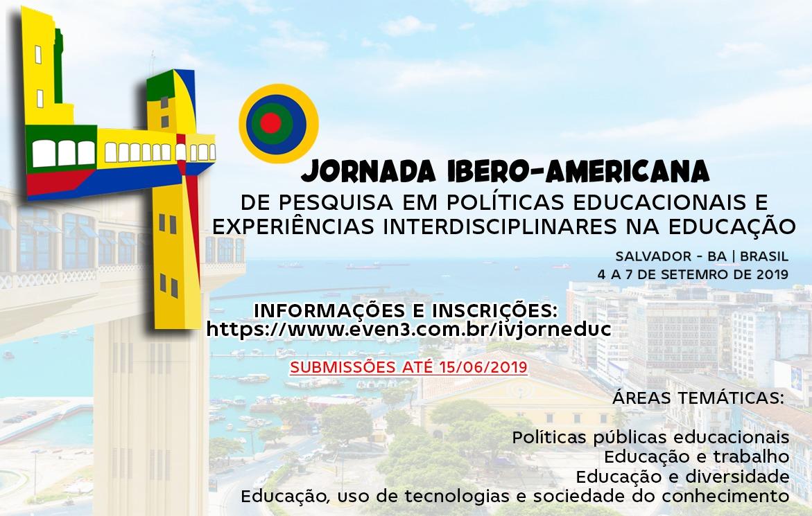 Cartaz com informações sobre o evento IV Jornada Ibero-Americana em Políticas Educacionais