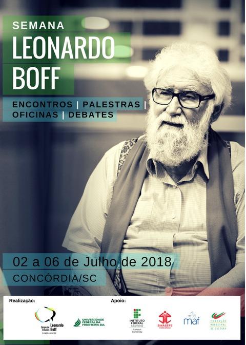 Cartaz com informações sobre a I Semana Leonardo Boff, em Concórdia