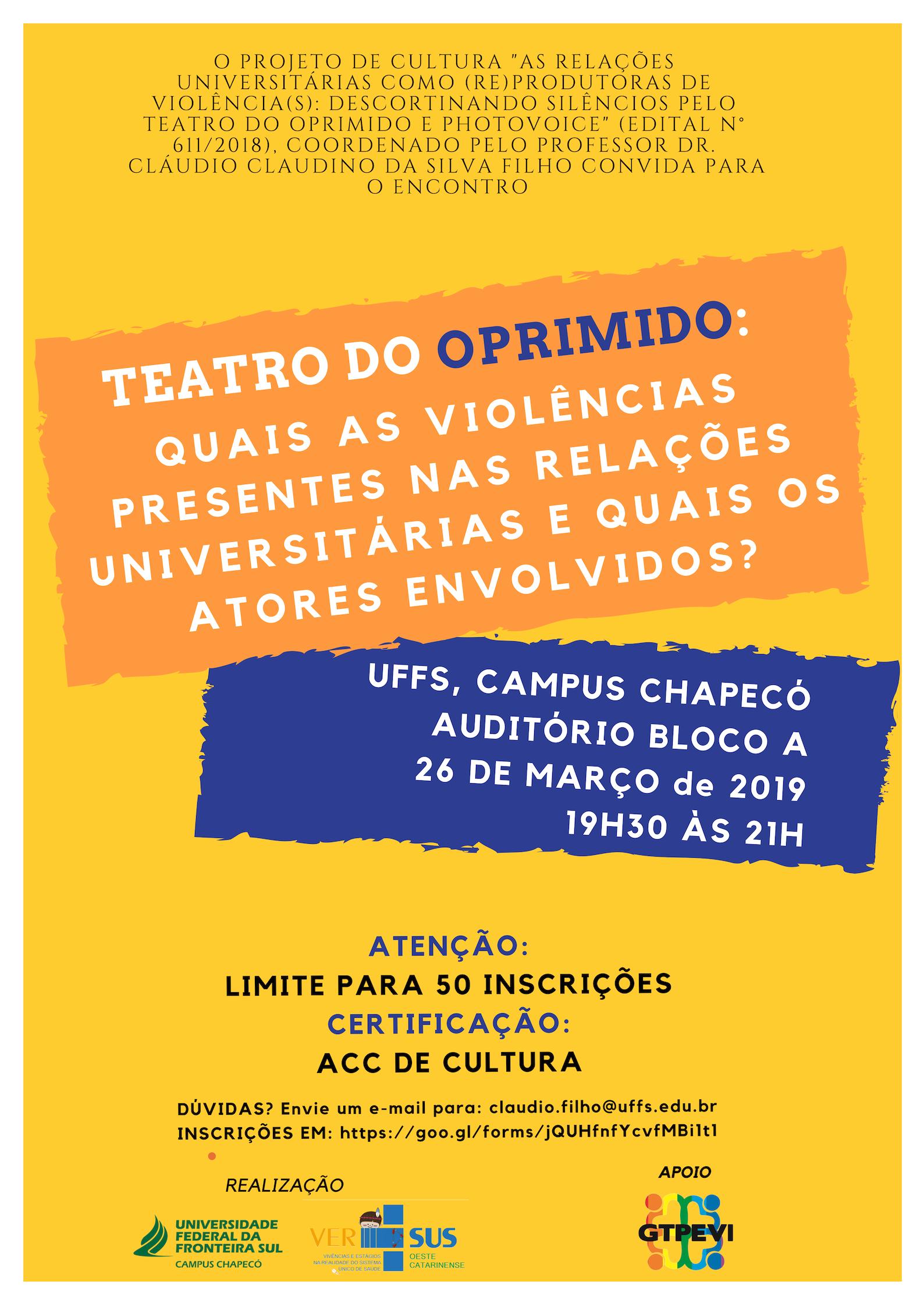 Cartaz com oinformações de evento abordando o Teatro do Oprimido