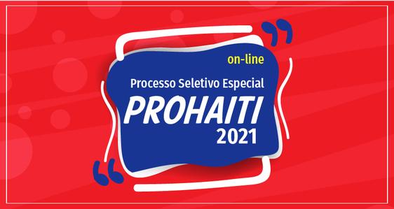 Cartaz com informações seleção prohaiti 2021