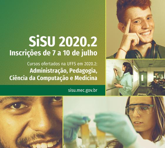 Cartaz com informações inscrições sisu 2020.2