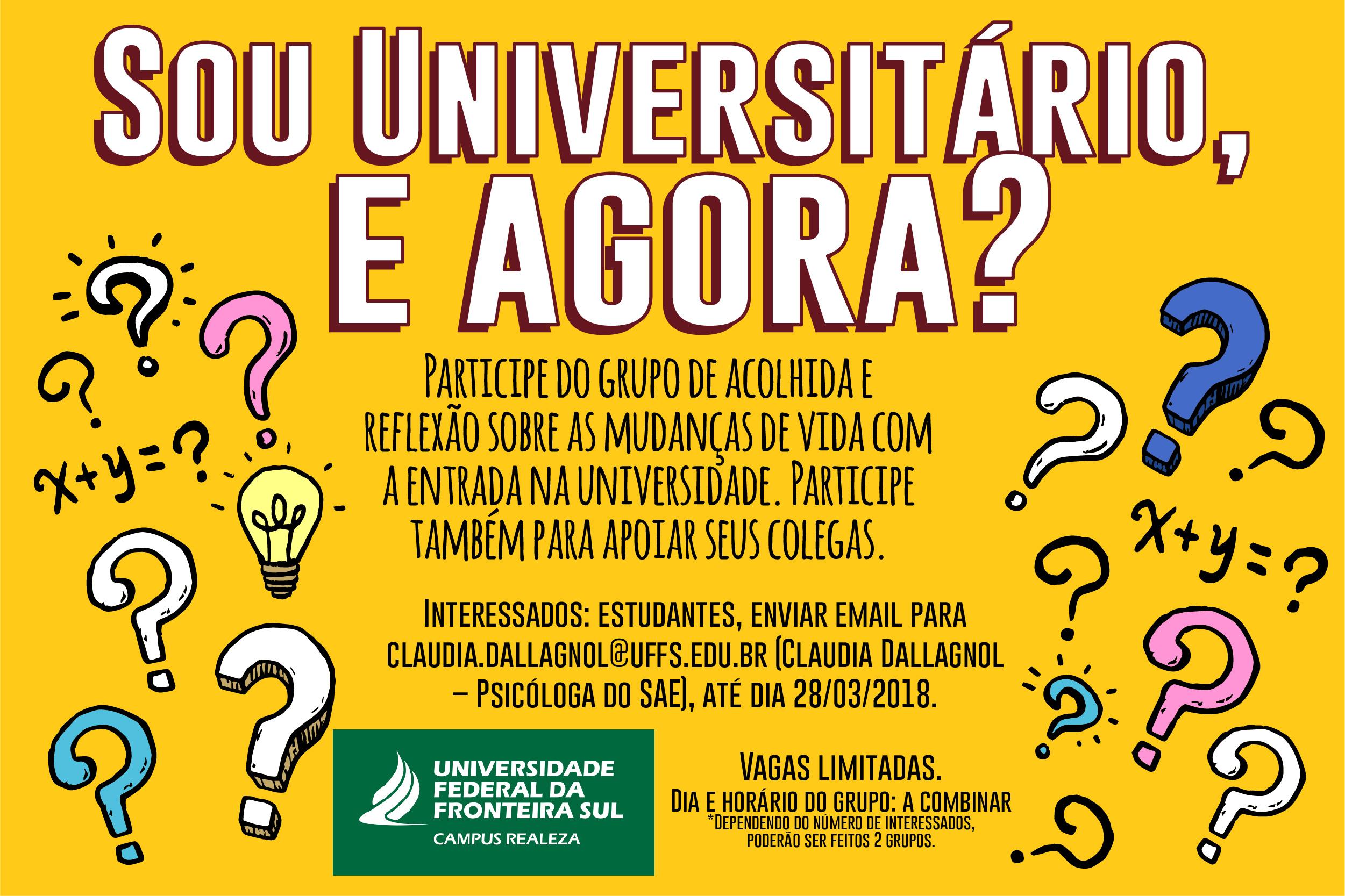 Cartaz na cor amarela, com a escrita: sou universitário, e agora?